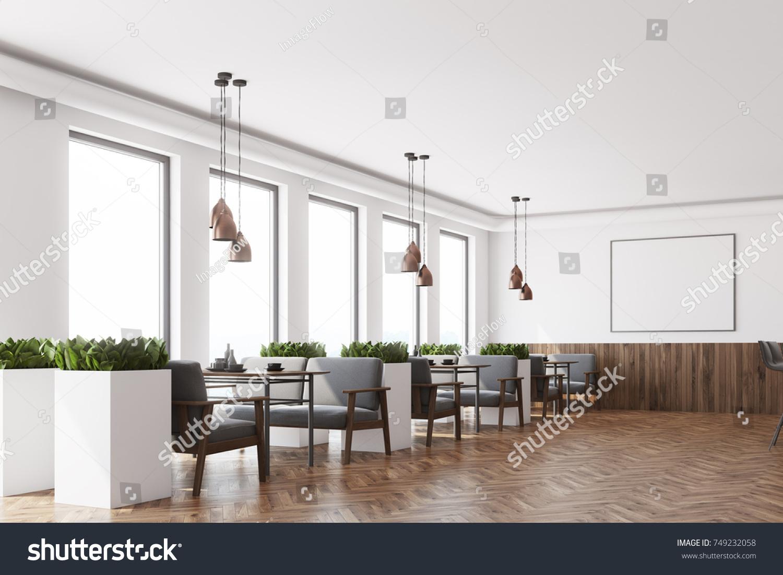 Modern Cafe Interior White Dark Wooden Stock Illustration 749232058 ...
