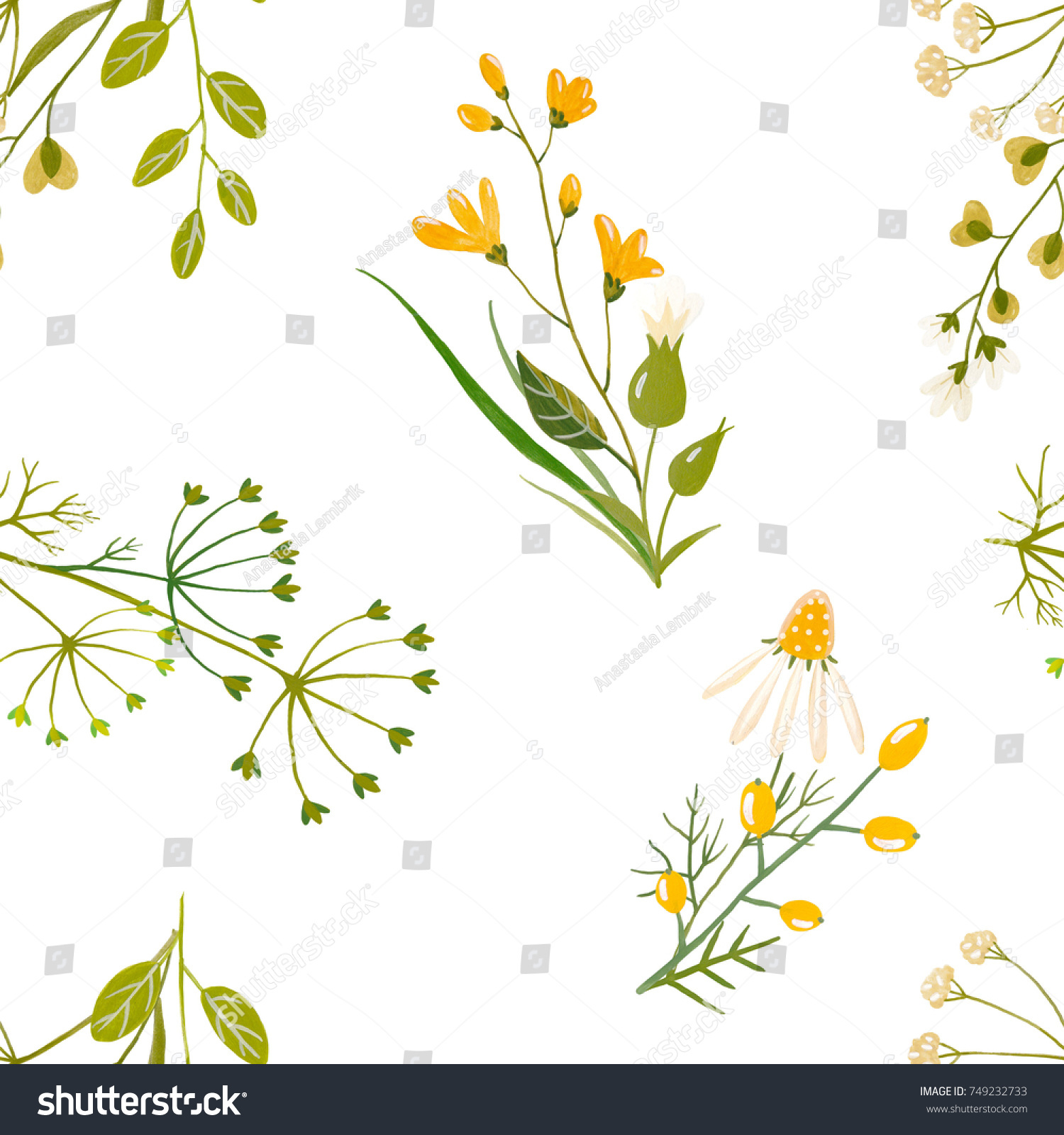 Flower Watercolor Pattern Bouquet Flowers Simple Stock Illustration