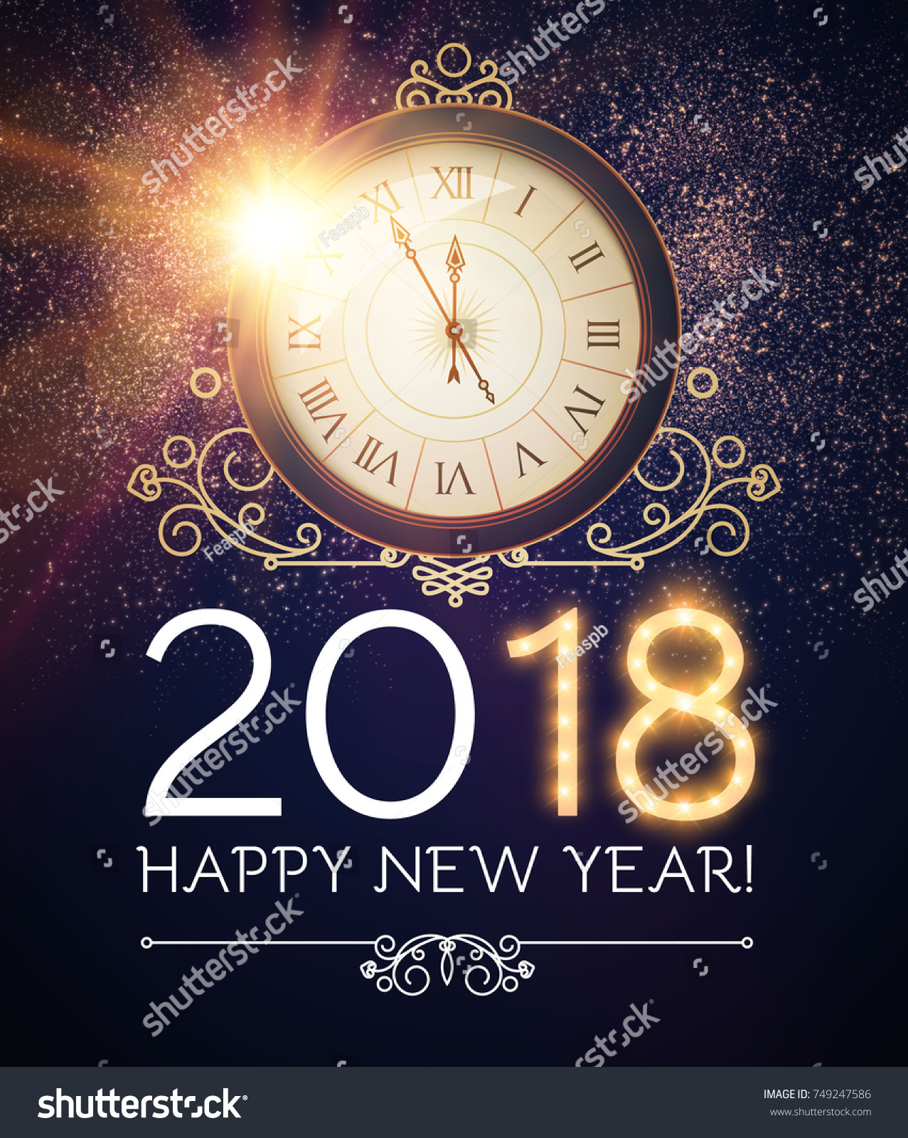 happy new 2018 year background with clock elegant vintage frame flash light and bokeh
