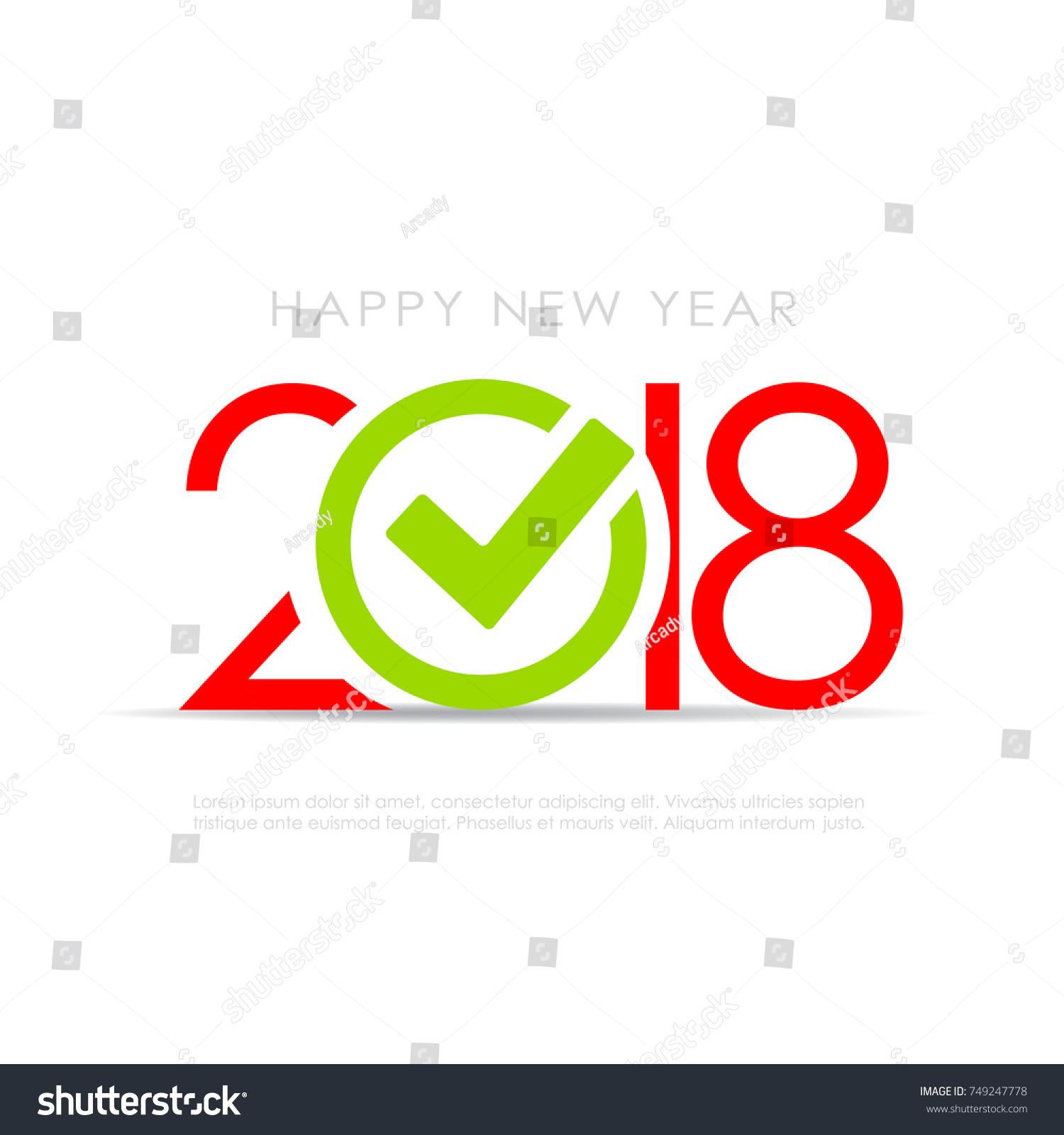 2018 New Year Symbol Check Mark Stock Vector Royalty Free
