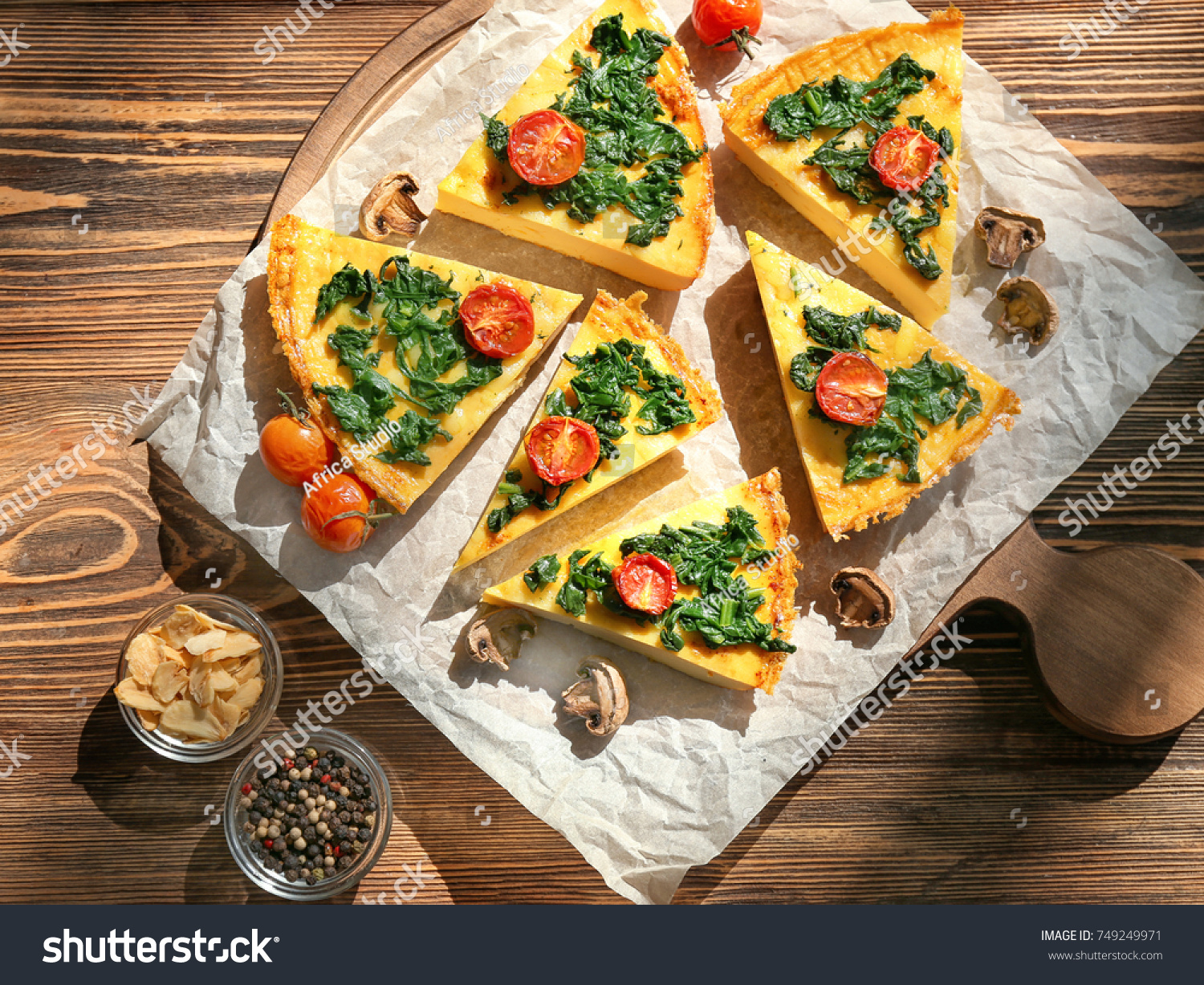 Pieces Tasty Frittata Spinach On Table Stock Photo Edit Now 749249971