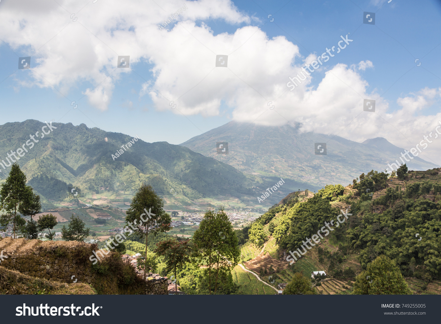 View Sundoro Volcano Dieng Plateau Near Stock Photo Edit Now Tour Plateu Of The From Wonosobo In Central Java Indonesia