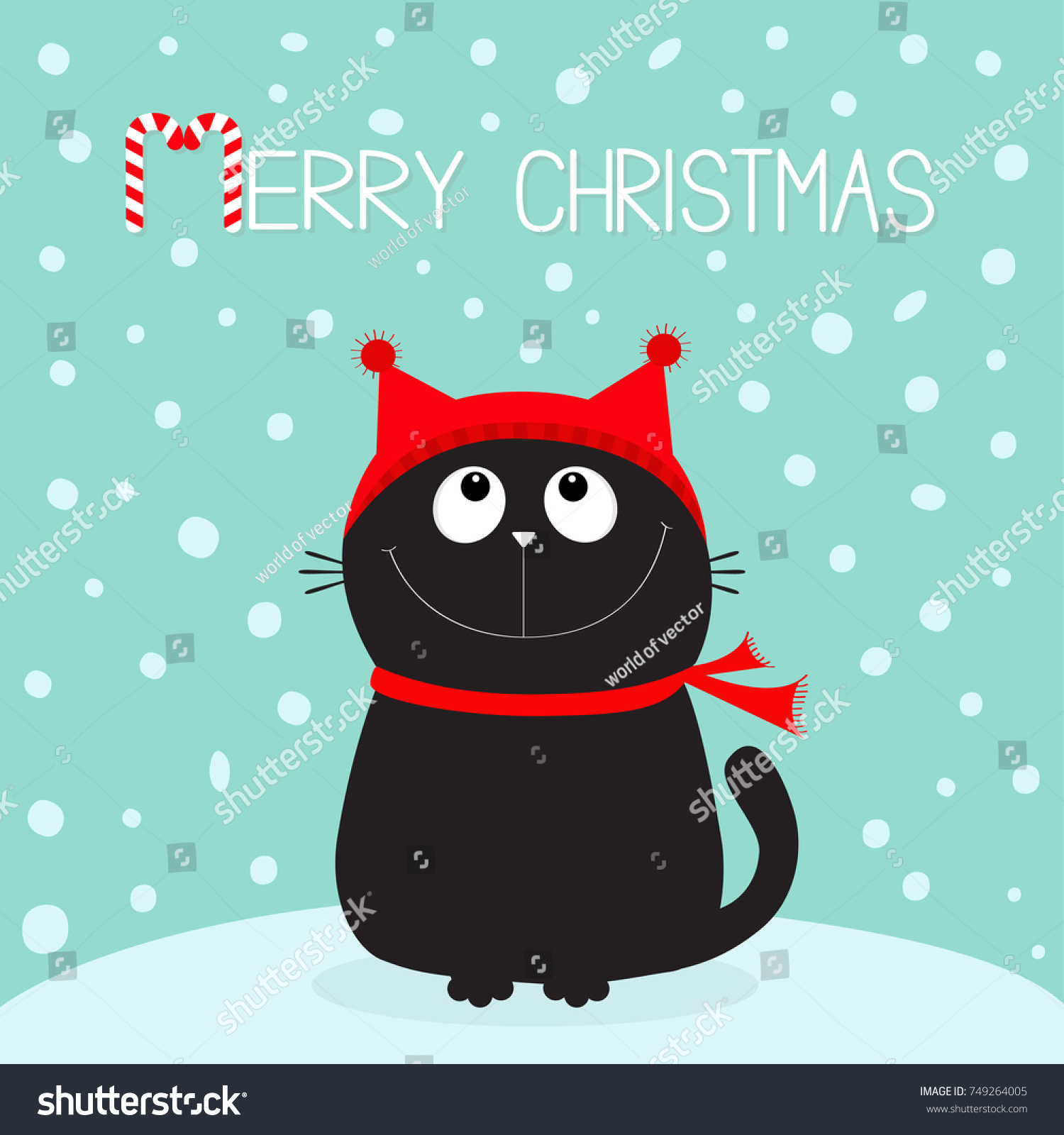 merry christmas candy cane text black cat kitten head face looking up kitty sitting - Merry Christmas Cat