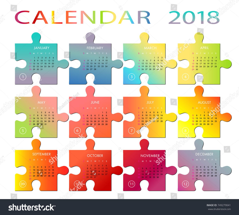 Calendar Year 2018 Vector Colorful Puzzle Stock Vector 749279041 ...