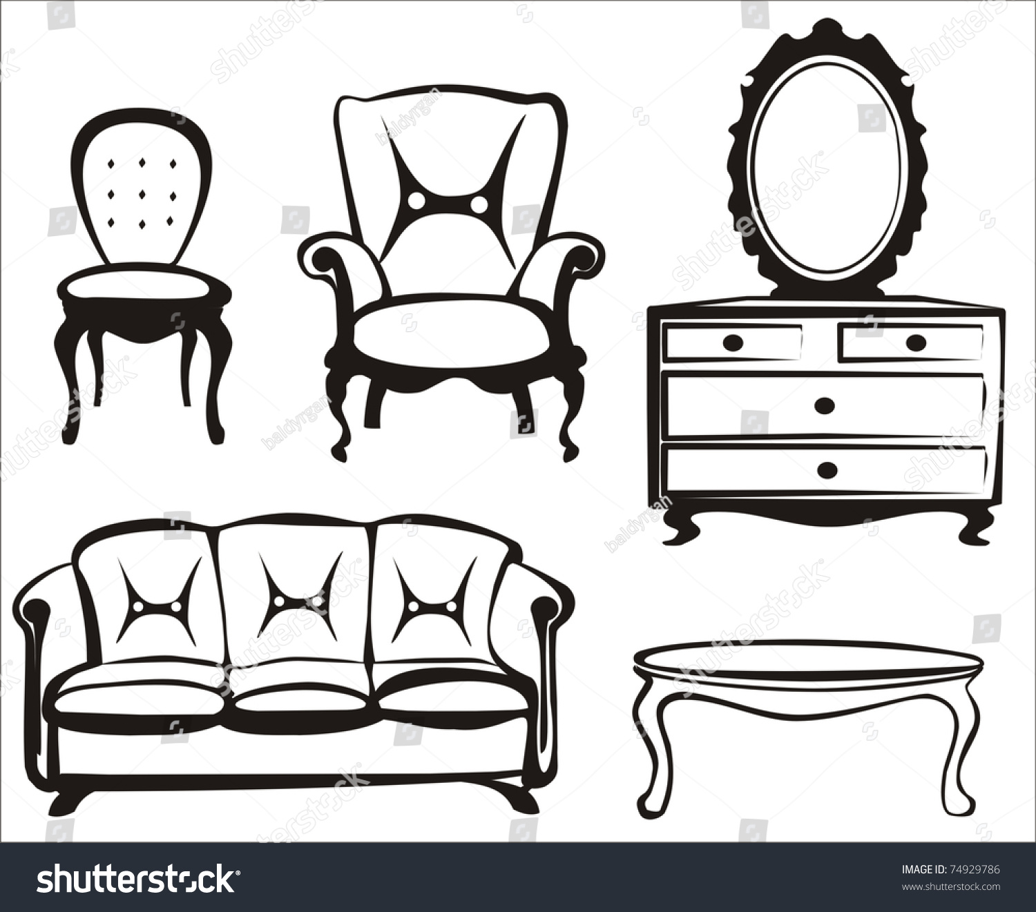 Furniture Sketch Collection In Black Lines