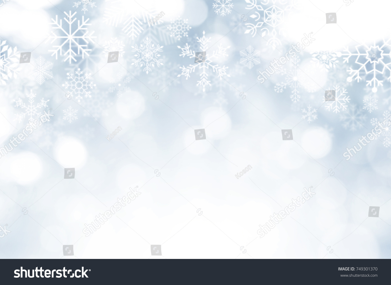 christmas and new year theme background light blue blurred abstract background with snowflake