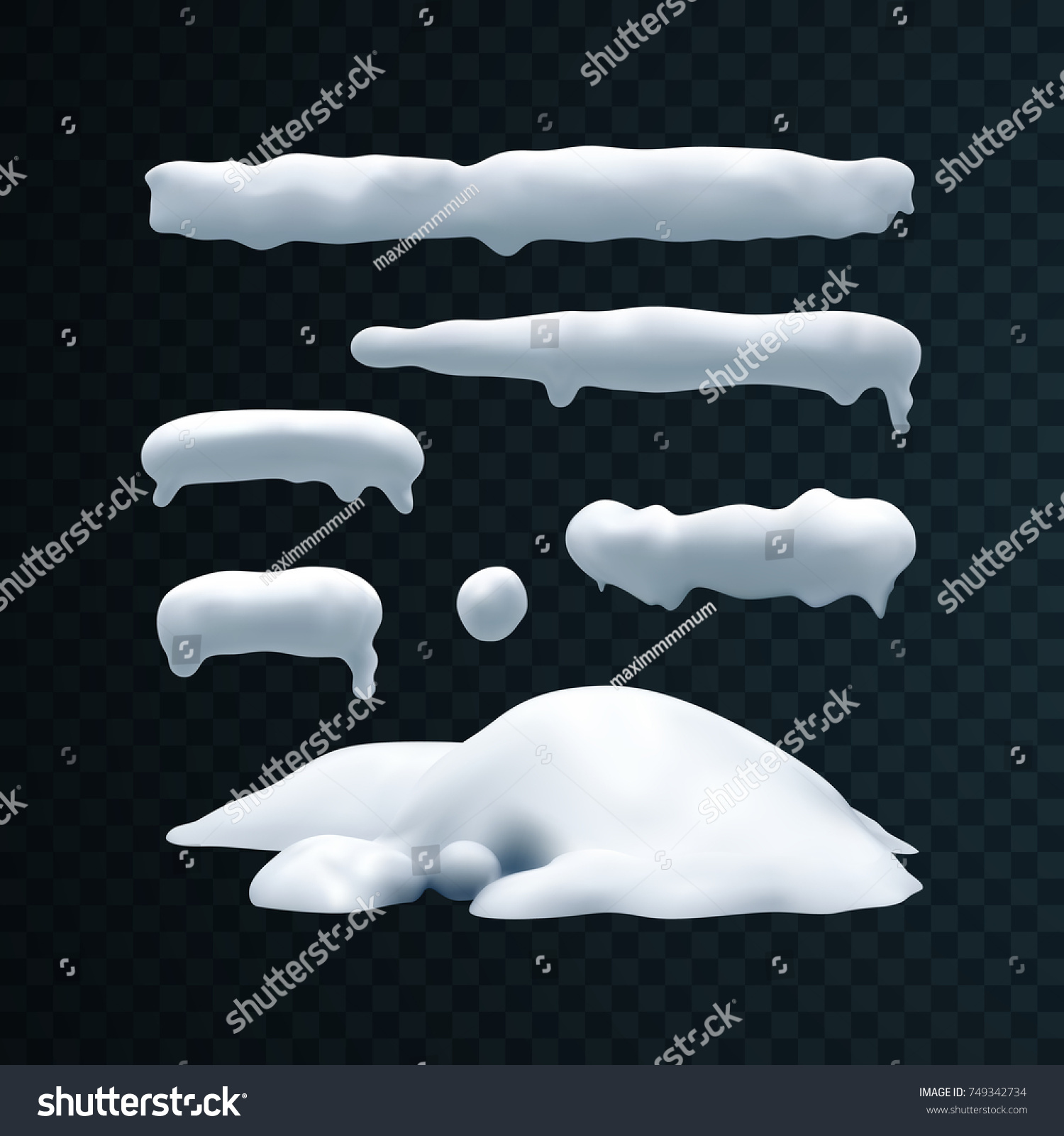 Vector set of snow caps, icicles, snowball and snowdrift isolated on transparent background. Winter decorations. Seasonal elements for design