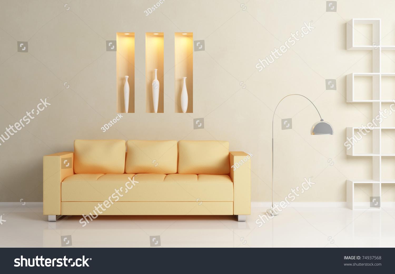 Yellow Sofa Chromed Lamp White Shelf Stock Illustration 74937568 ...