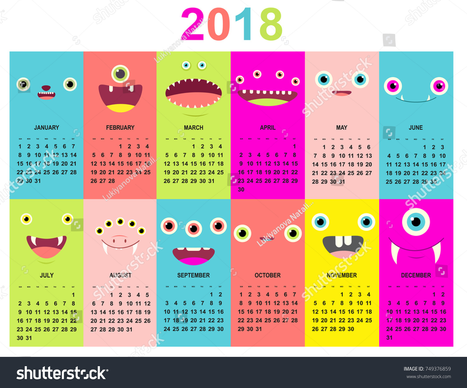Monthly Calendar 2018 Cute Monsters Faces Stock Vector