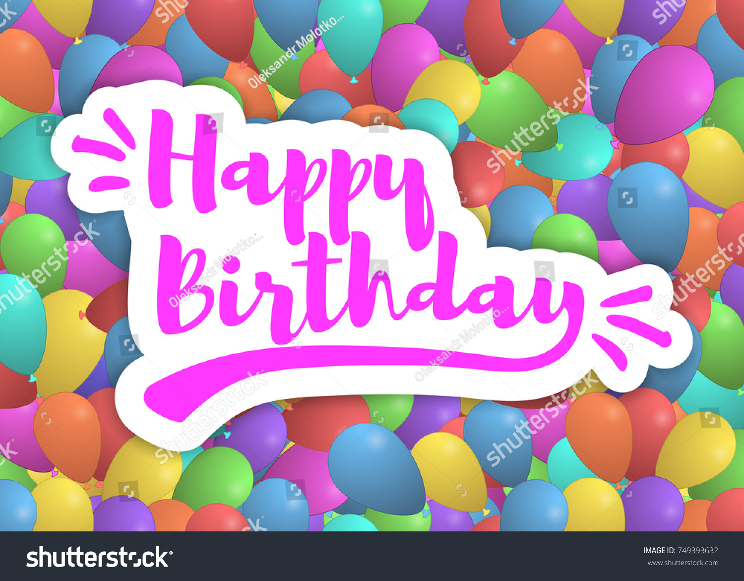 Happy Birthday Background With Colorful Balloons And LetteringTemplate For Your Festive Design Vector