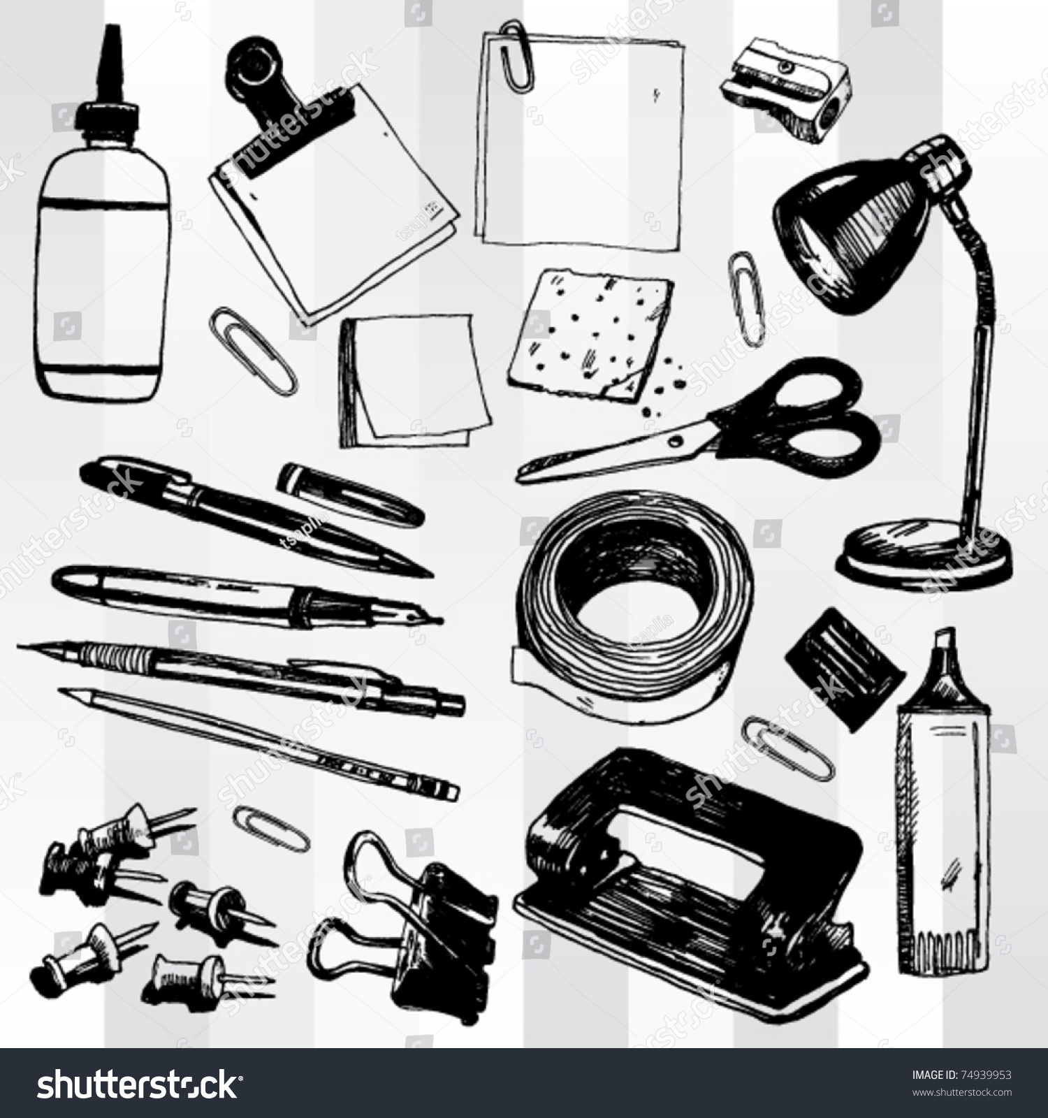 Some Office Stuff Hand Drawn Stock Vector 74939953 - Shutterstock