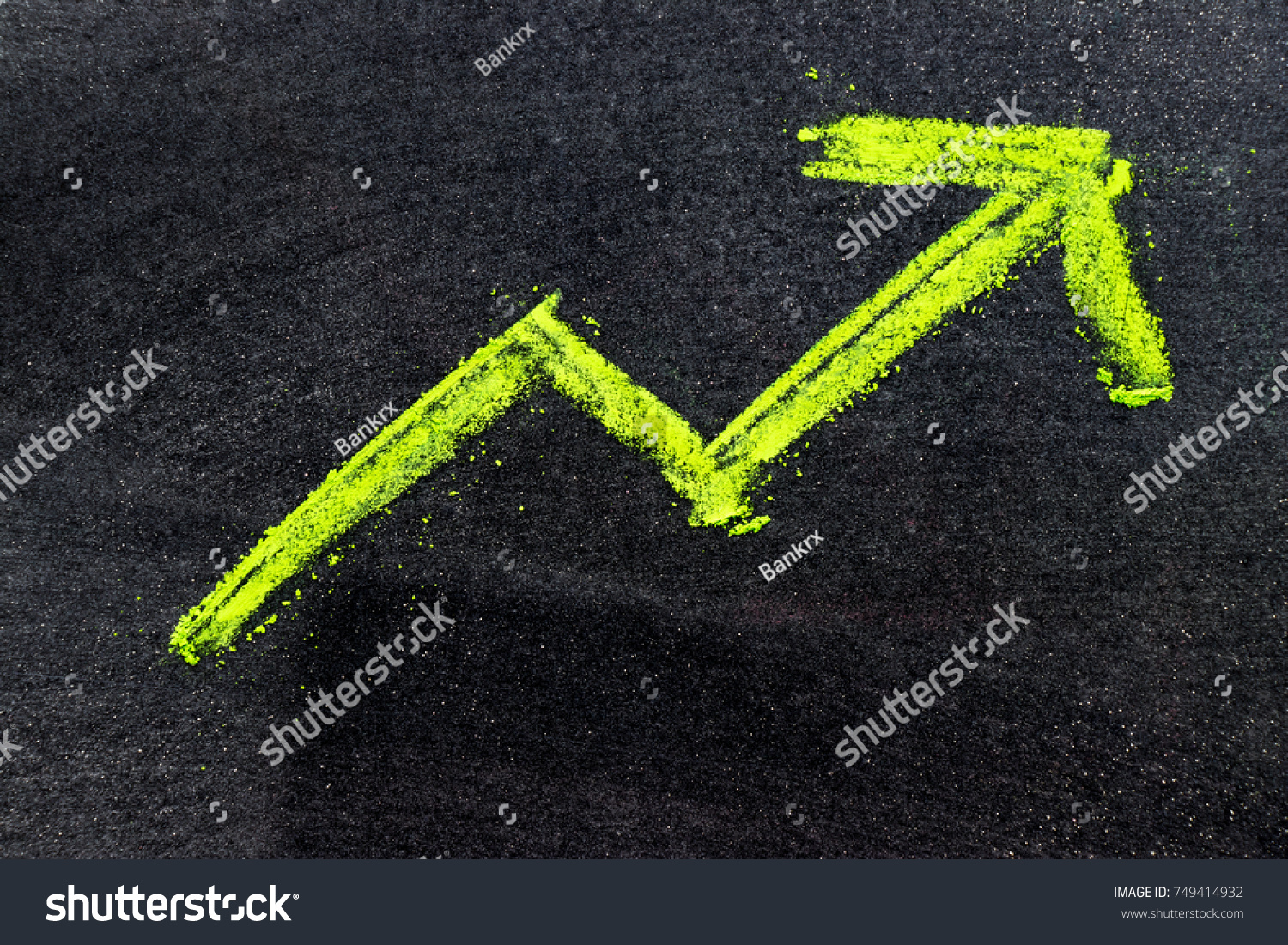 Green Color Hand Drawing Chalk Arrow Stock Photo 749414932 ...