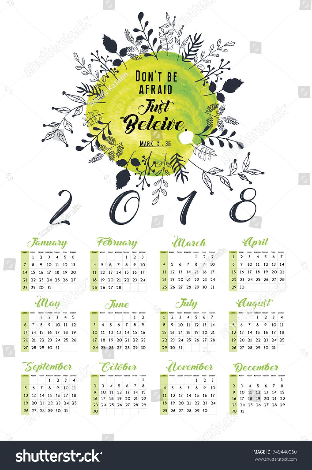 Calendar Design Quote : Calendar bible quote wreath design stock vector royalty free