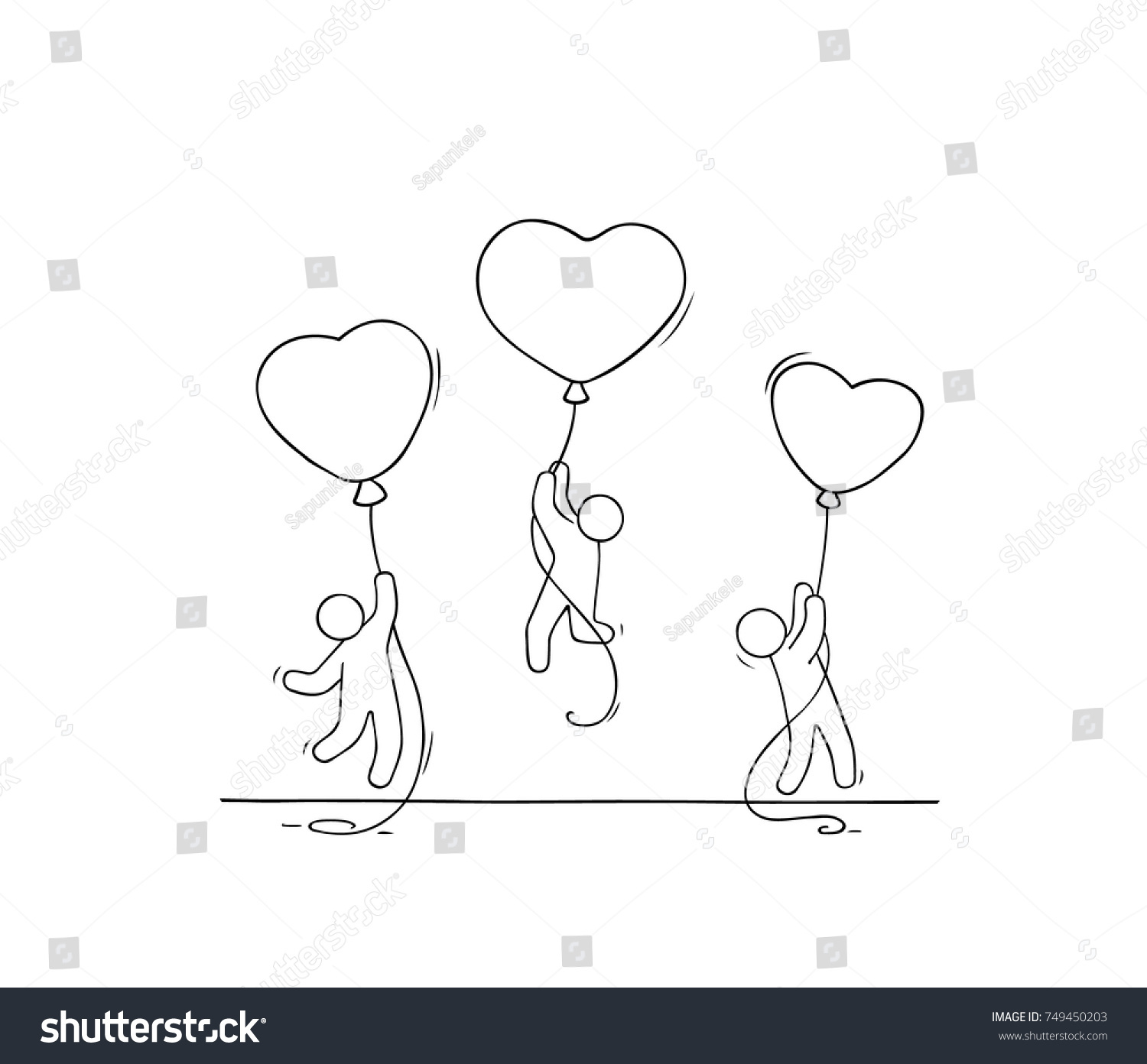 Sketch of working little people with romantic balloons doodle cute miniature scene of workers about