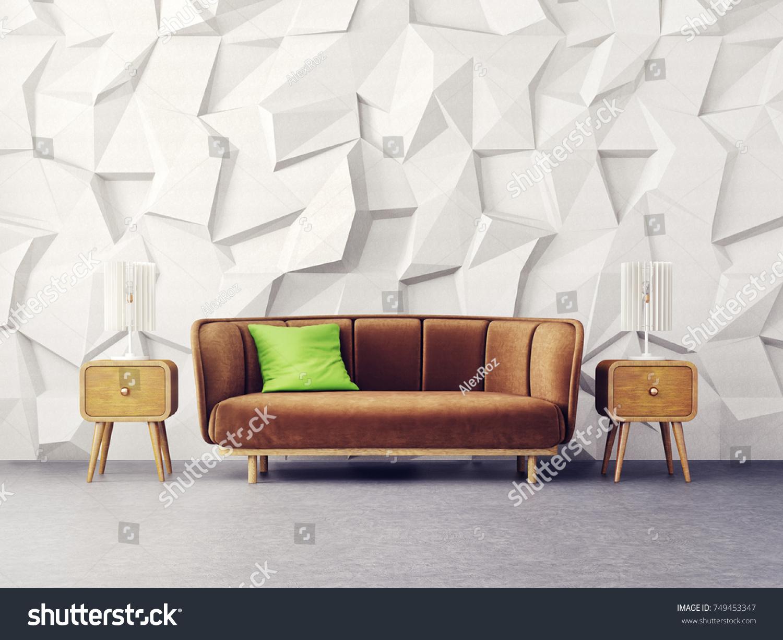 Modern Living Room Brown Sofa Lamp Stock Illustration 749453347 ...