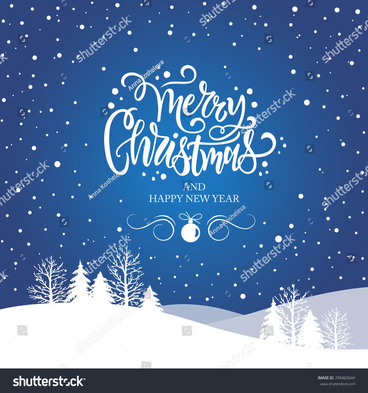 merry christmas happy new year typography stock vector 749465044