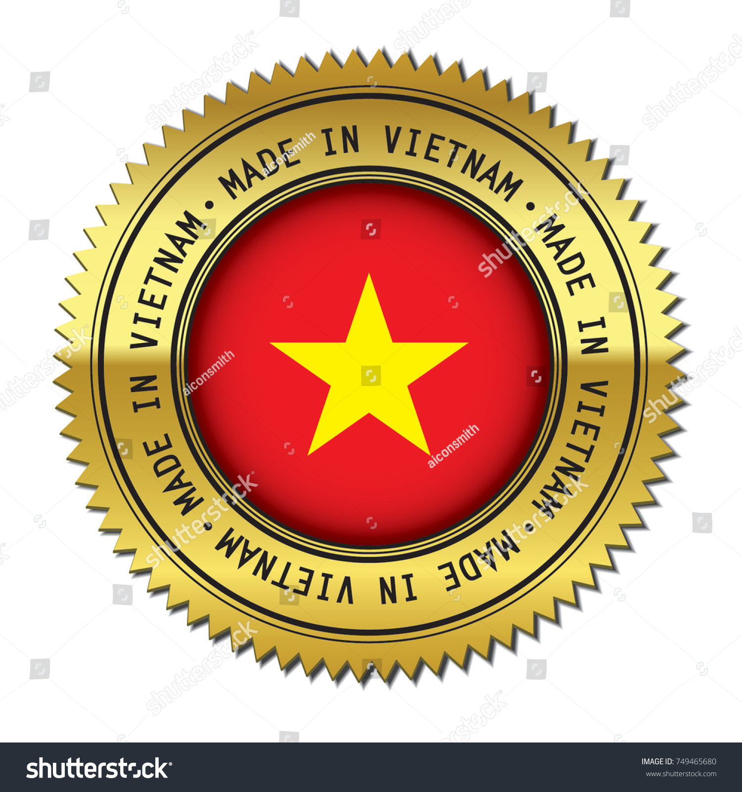 Made Vietnam Metal Golden Stamp Flag Stock Vector Hd Royalty Free