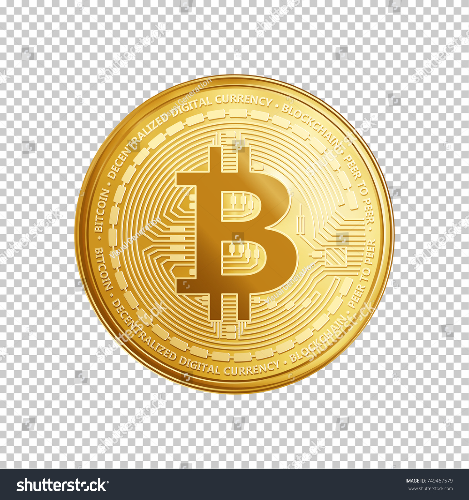 Golden Bitcoin Coin Crypto Currency Symbol Isolated On Transparent Background Realistic