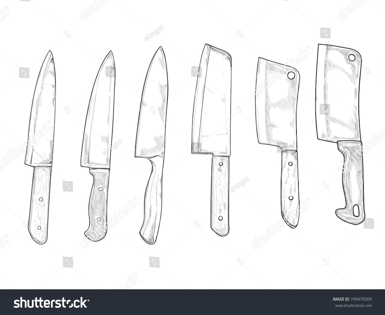 Kitchen Knife. Drawing Vector Set 2