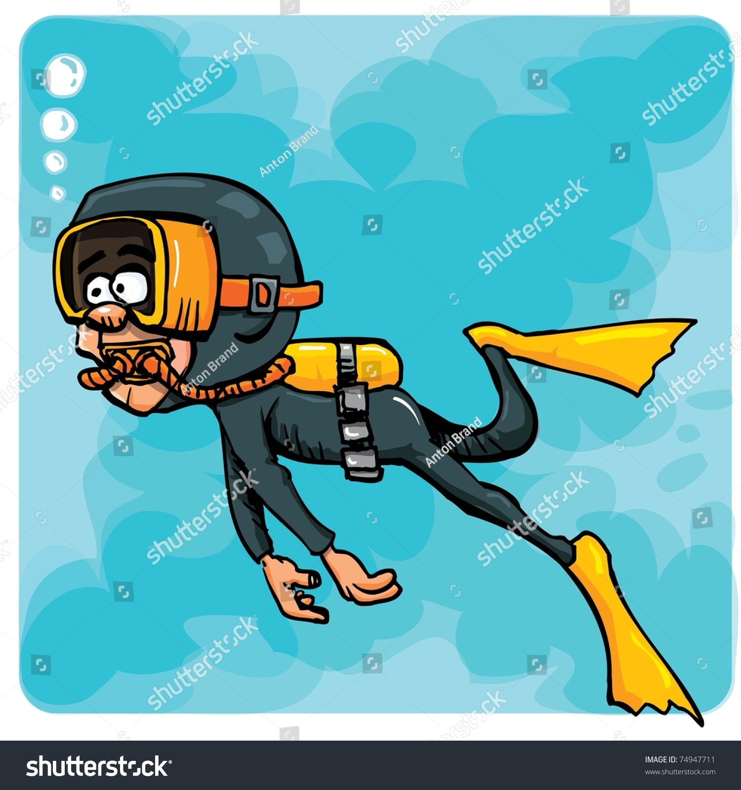 Stock Vector Cartoon Diver Swimming Underwater Blue Sea Behind Him