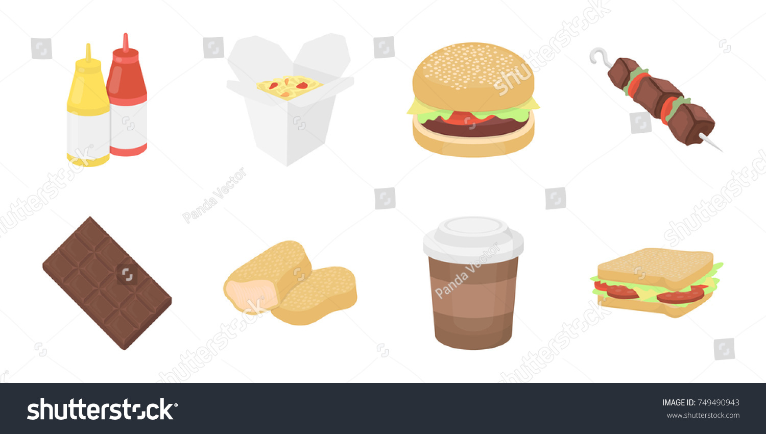 Fast Food Icons Set Collection Design Food Stock Vector 749490943