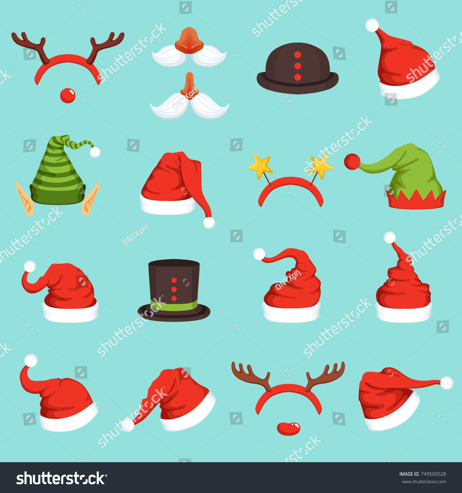 hats different christmas characters cap santa stock vector royalty