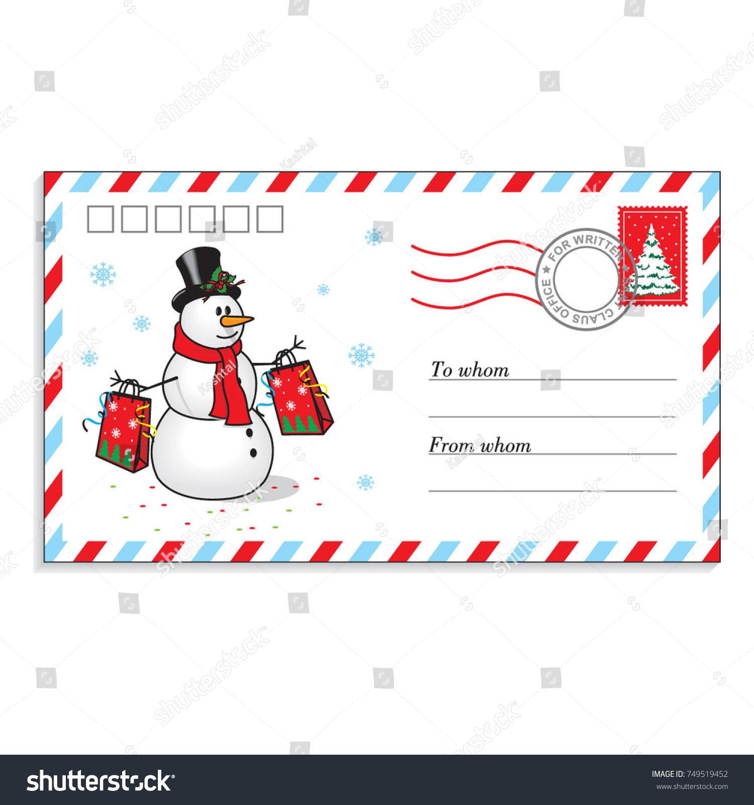 Christmas envelope cute snowman letter santa stock vector hd christmas envelope with cute snowman for the letter to santa claus vector illustration spiritdancerdesigns Gallery