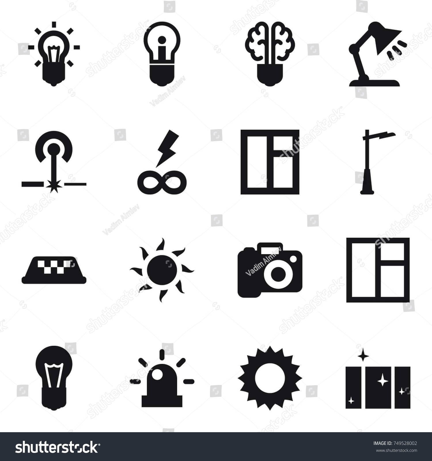 16 Vector Icon Set Bulb Bulb Stock Vector 749528002 - Shutterstock for Power Window Symbol  589ifm