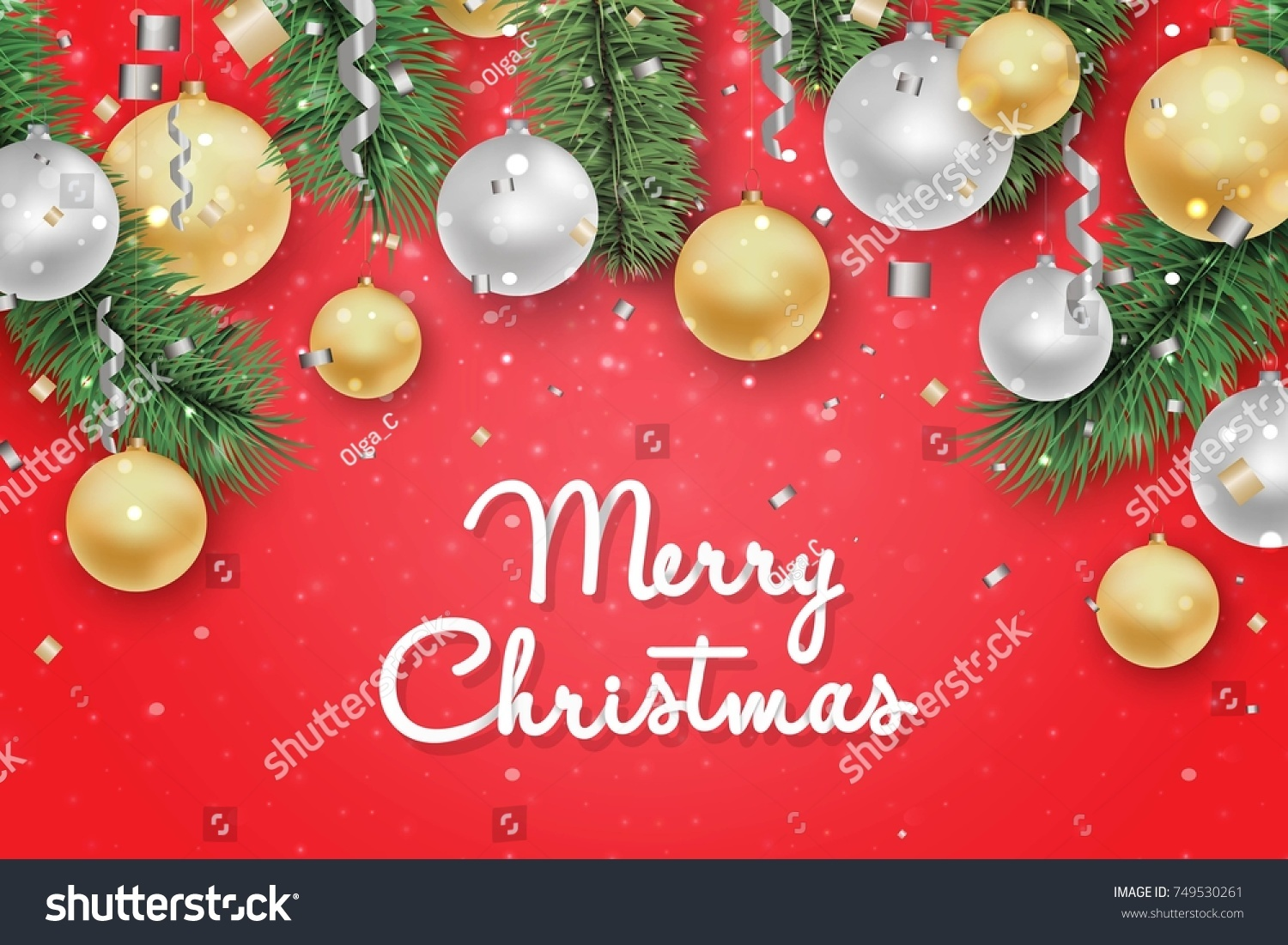 Christmas New Year Background Holiday Greeting Stock Vector Royalty