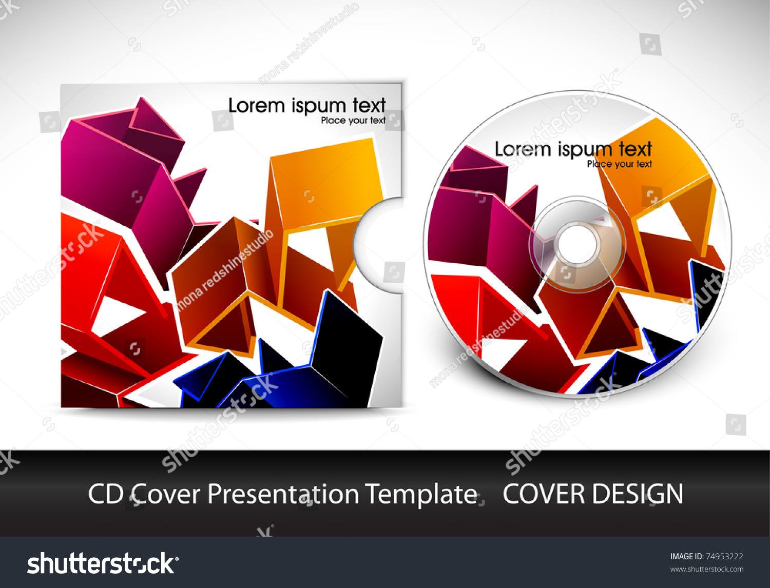 cd cover design template presentation editable stock vector 74953222 shutterstock. Black Bedroom Furniture Sets. Home Design Ideas