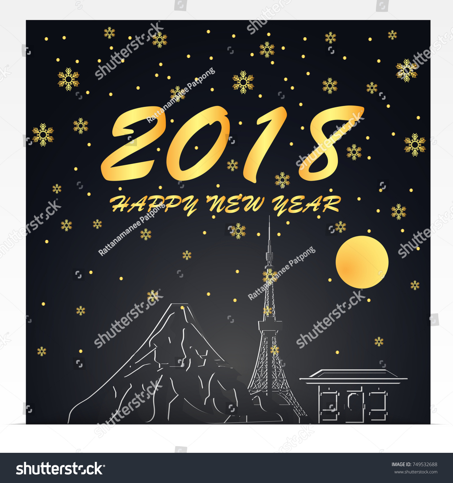 happy new year 2018 illustration of japan landmarks gold and black color tone