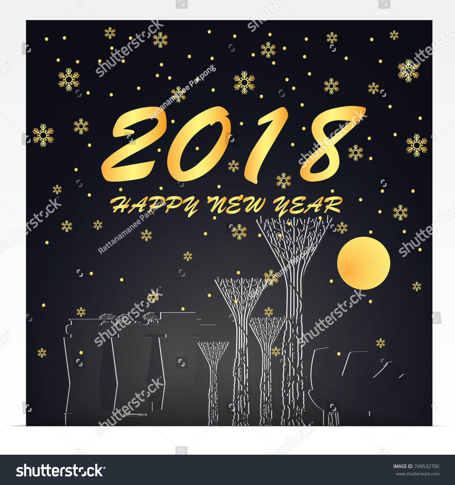 Happy New Year 2018 Illustration Singapore Stock Vector