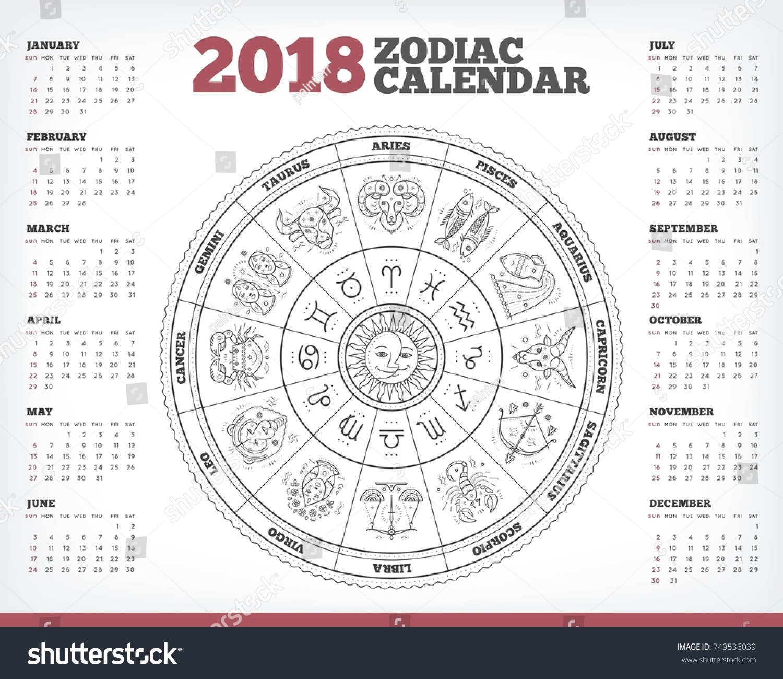 Zodiac Circle 2018 Year Calendar Poster Stock Vector (Royalty Free