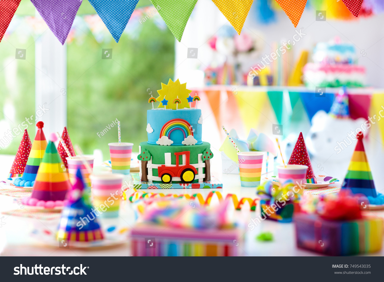 Kids Birthday Party Decoration Colorful Cake Stock Photo 749543035