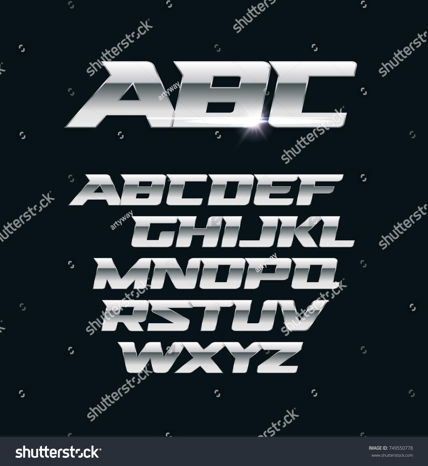 Modern chrome vector font metallic letters polished steel style symbols aluminium bold geometric