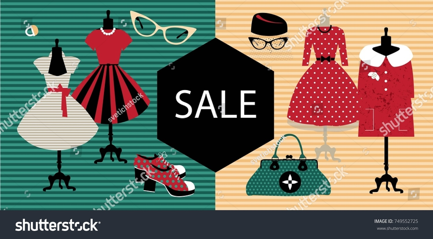 93510685391 Sale banner. Vintage fashion. Fashionable women s clothing and accessories  with a banner Sale for