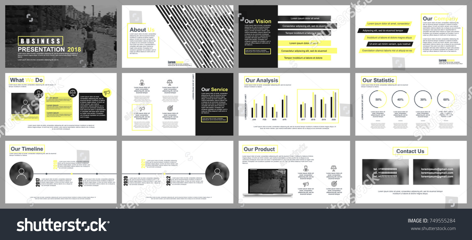 yellow black business presentation slides templates のベクター画像
