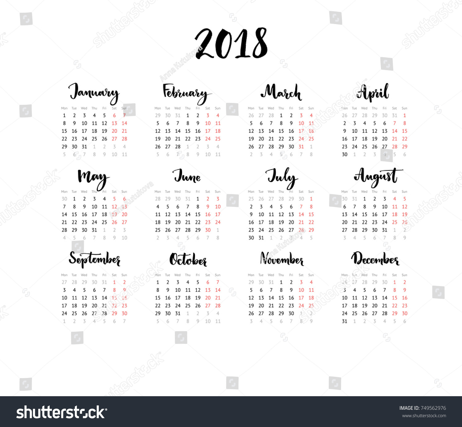 one page calendar 2018 with calligraphy months week starts from monday simple and clean
