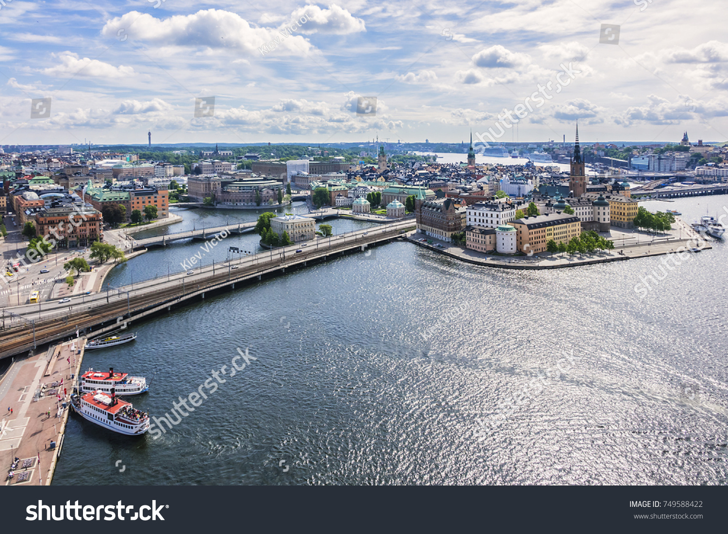Beautiful aerial view of Stockholm city. Stockholm, Sweden. #749588422