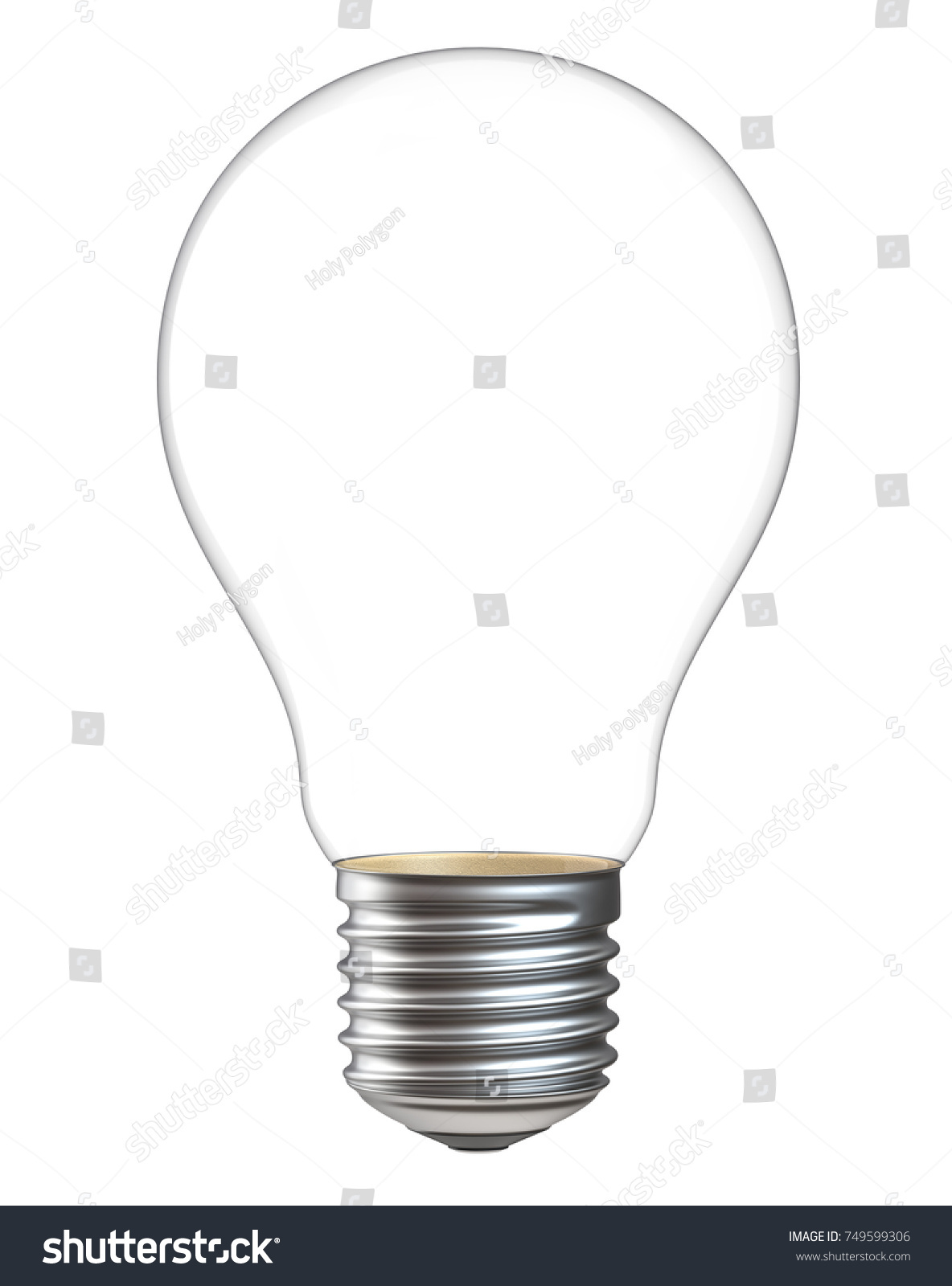 3 D Illustration Empty Light Bulb Isolated Stock Illustration ...