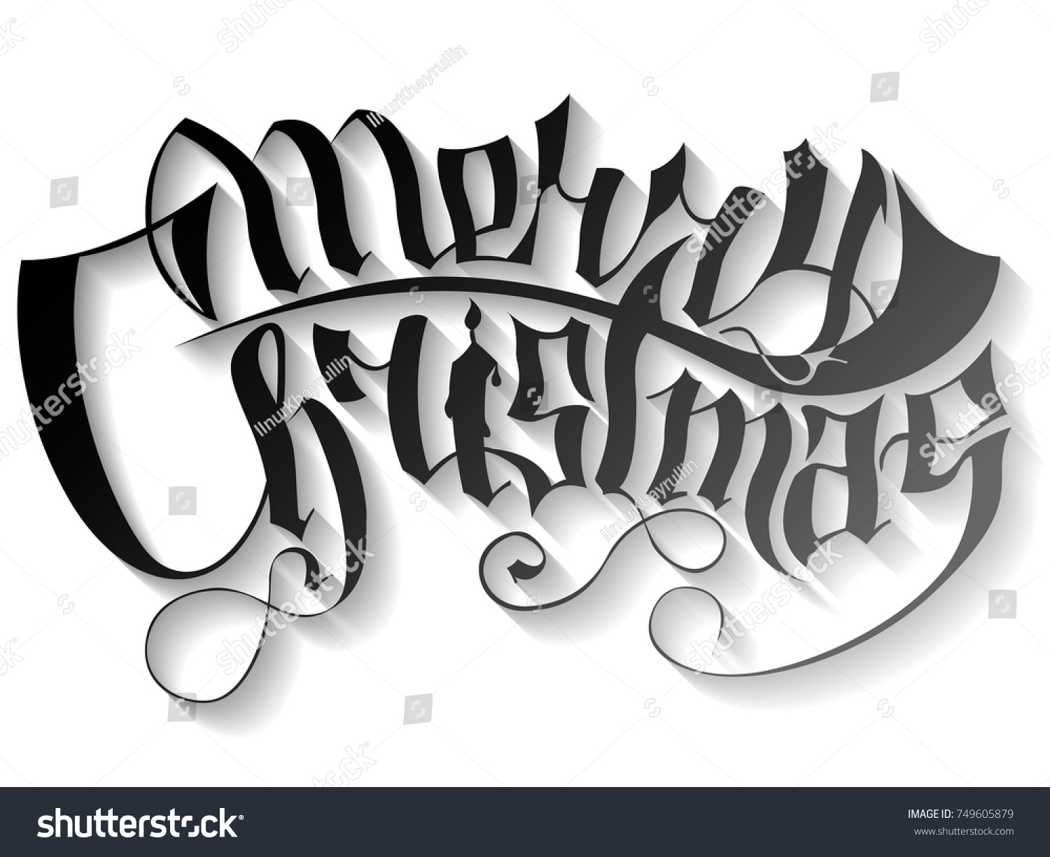 merry christmas vector text gothic lettering stock vector royalty