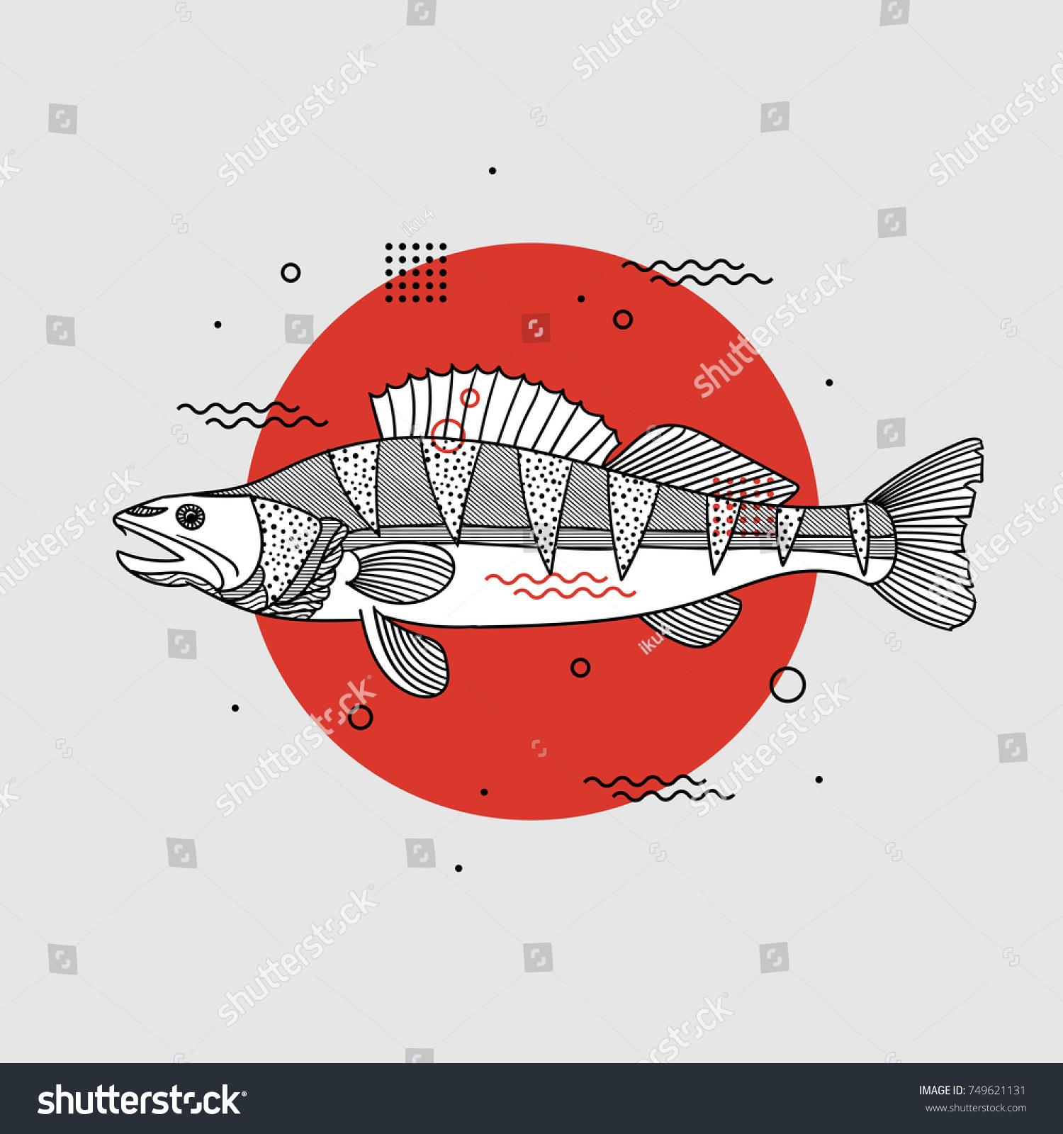 Fish Geometric Shapes Seafood Design Bar Stock Vector 749621131 ...