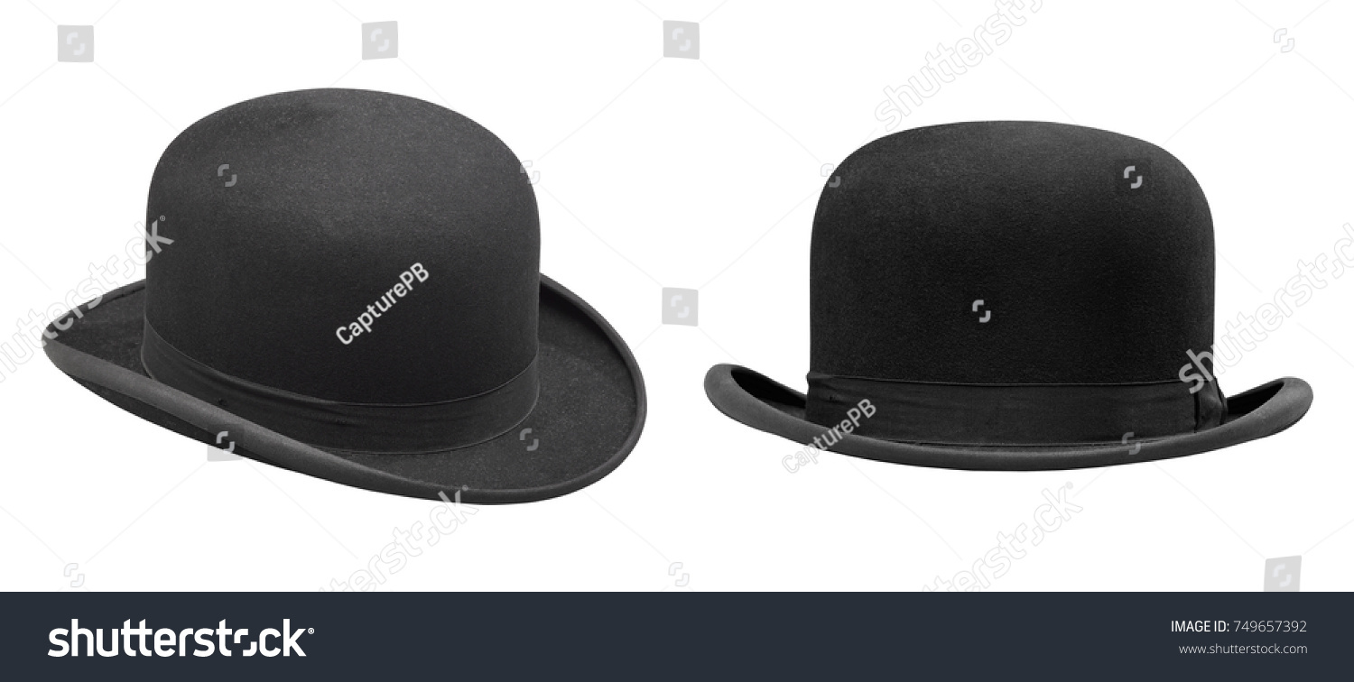 Two stylish black bowler hat isolated with clipping path #749657392