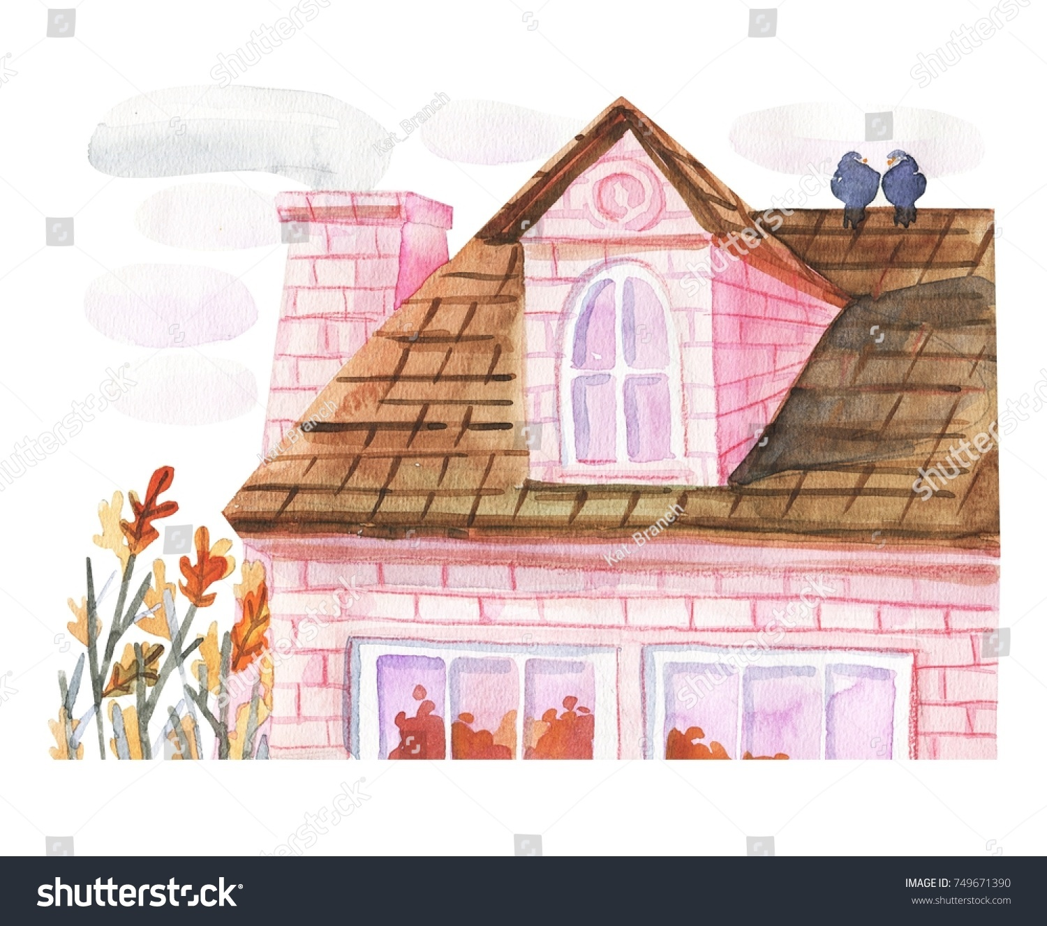 Watercolor Cute Roof Morning House Postcard Stock Illustration ...