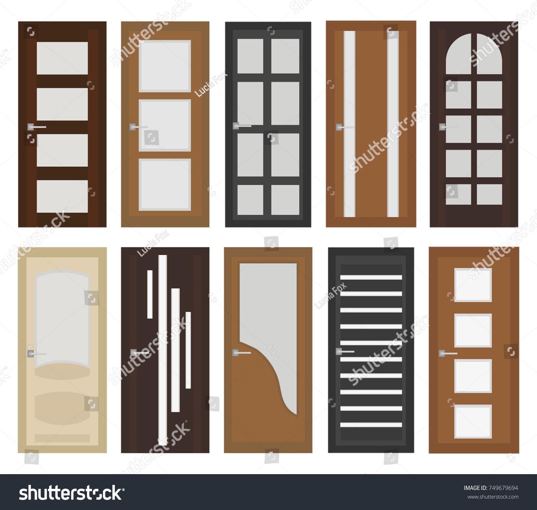 Interior Doors Set Flat Style Door Stock Vector Royalty Free