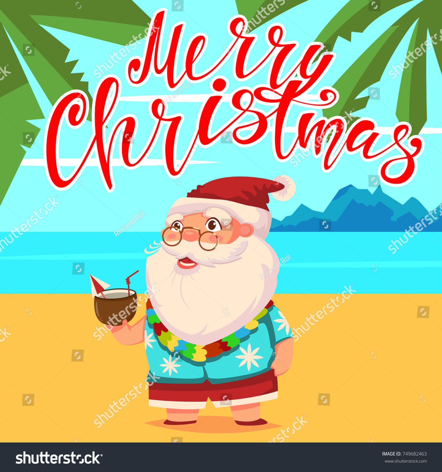 summer santa claus on the beach with palm trees in shorts and a hawaiian shirt with - Merry Christmas In Hawaiian Language