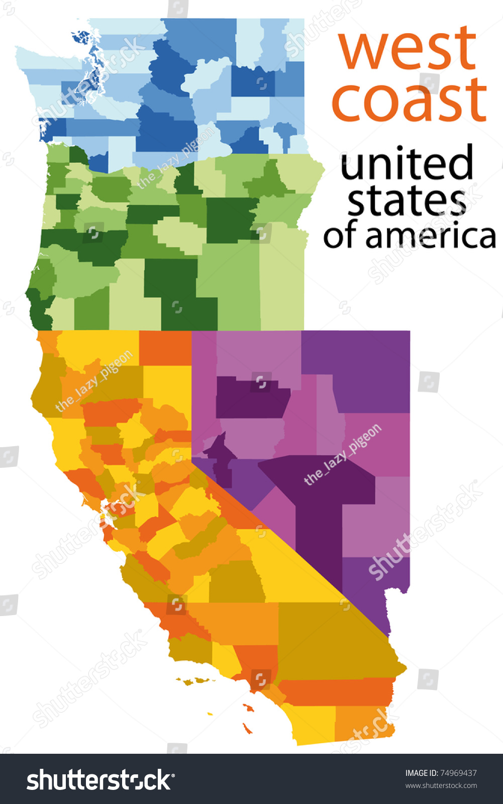 Detailed Map West Coast Usa Stockillustration 74969437 – Shutterstock