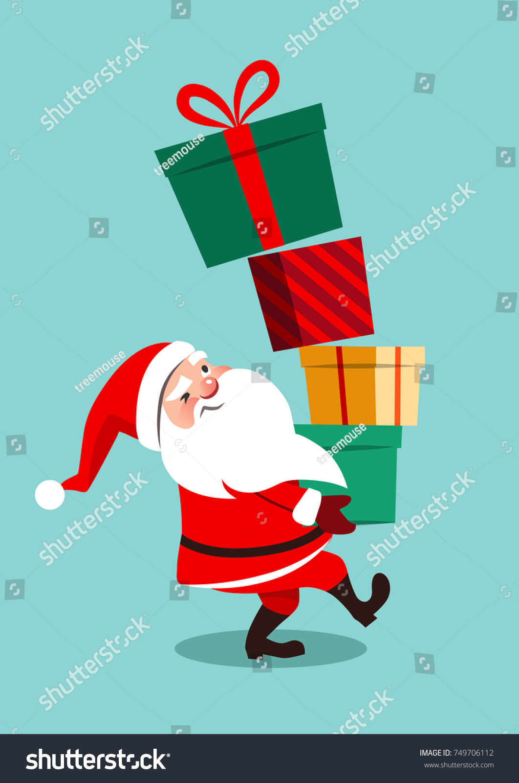 Vector cartoon illustration funny anxious looking stock vector vector cartoon illustration of funny anxious looking santa claus carrying a tall stack of colorful gift negle Gallery