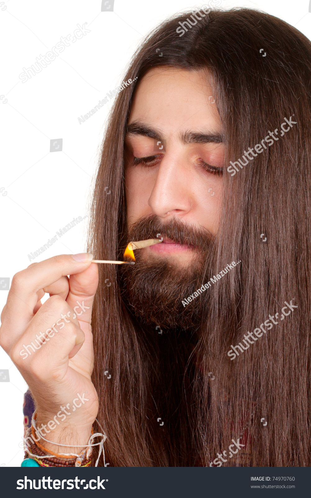 Super Longhaired Hippie Man Smoking Cigarette Marijuana Stock Photo Hairstyles For Women Draintrainus