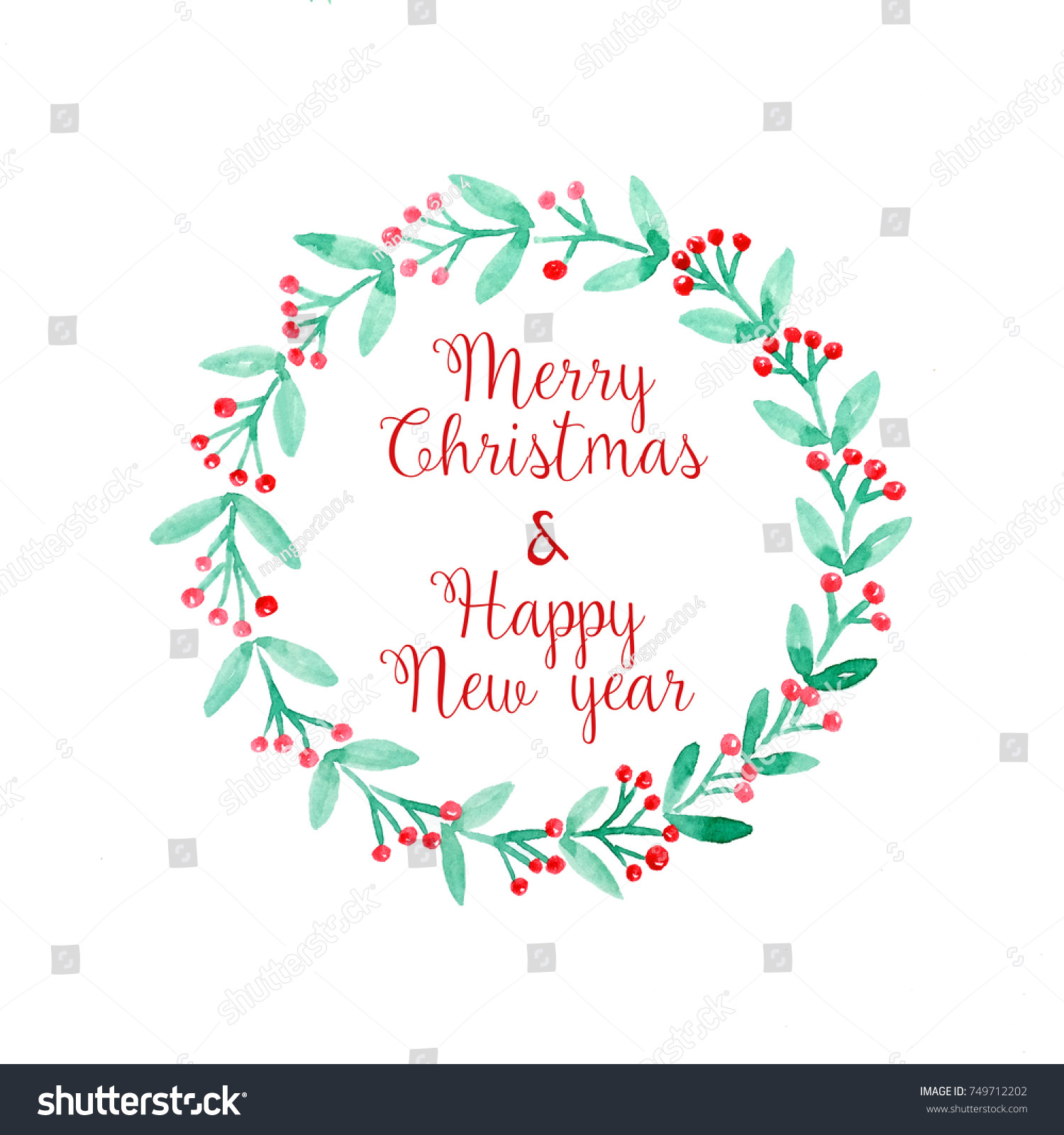 Merry Christmas Happy New Year Word Stock Illustration 749712202